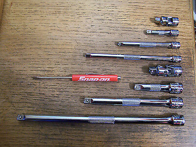 """NEW Blue-point Tools 1/4""""-3/8"""" Dr 8Pc Knurled Extension Set Swivel & Snap-on"""