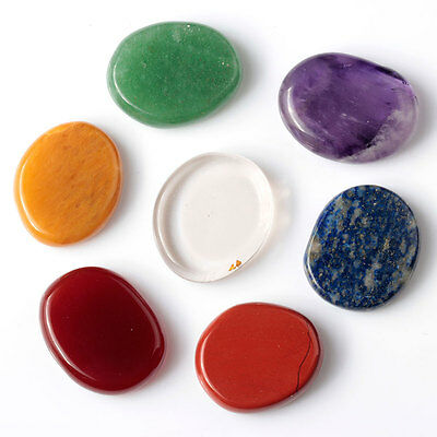 7 piece chakra stone palm stones mixed crystal reiki healing set with one pouch