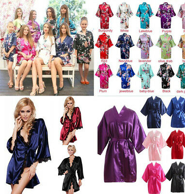 Satin Silk Short long Wedding Bride Bridesmaid Robe Women Floral Bathrobe Kimono
