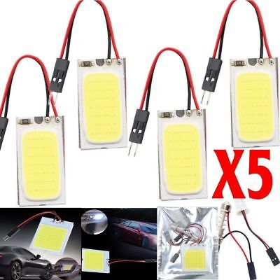 5pcs White 48 SMD COB LED T10 4W 12V Car Interior Panel Light Dome Lamp Bulb US