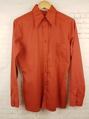 "Vtg 1970s Brick Red Long Sleeve French Polycotton Shirt Mod Disco -14.5""/S- ER29"