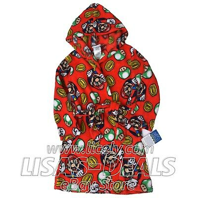 New Boys Super Mario Brothers Hooded Plush Robe Sleepwear Bath Red 4