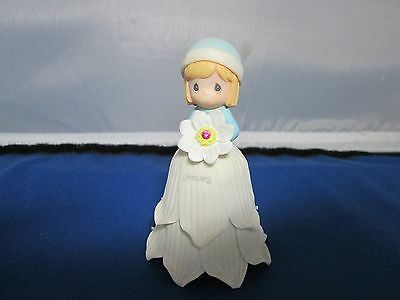 Precious Moments JANUARY china bisque bell girl with flower & rhinestone 2000