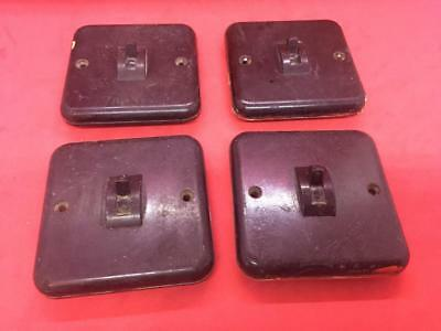 4 x VINTAGE RECLAIMED BAKELITE CRABTREE SINGLE LIGHT SWITCHES (stock ref JT48)