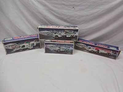 Lot Of 4 Hess Toy Trucks 00,01,02,04 Fire,Helicopter,SUV,Airplane