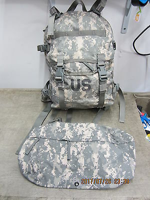 US ARMY ACU ASSAULT PACK w Stiffy & Waist Pack   Molle 3 Day Very Good Condition