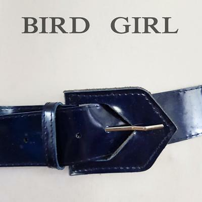 """Triangle Buckle 1970S Vintage Navy Blue Wide Faux Leather Belt 28-32"""""""