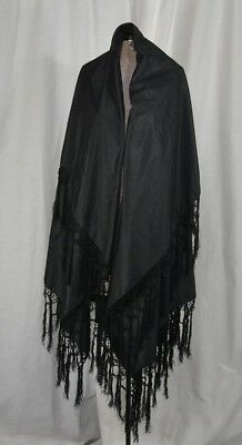 shawl black silk wide fringe throw Civil War Era Victorian antique original