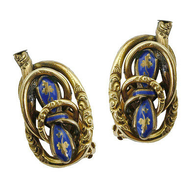 Antique Early 1800s Very Large and Unusual Enamel Gold Earrings