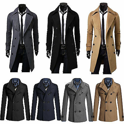 herren trenchcoat business winterjacke sakko lang slim fit. Black Bedroom Furniture Sets. Home Design Ideas