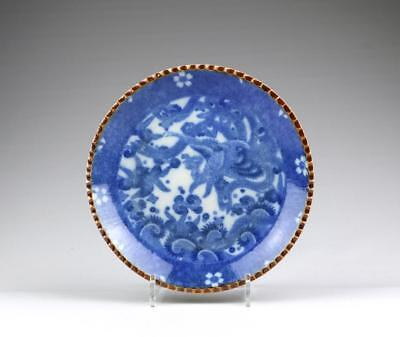 Large Antique Meiji Japanese Arita Blue & White Igezara Phoenix Porcelain Dish
