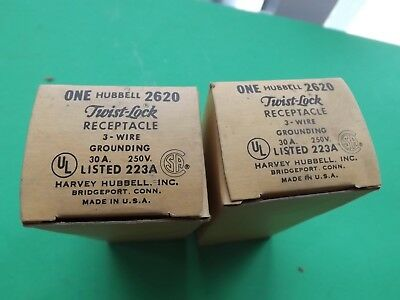 2 New Old Stock Hubbell HBL 2620 30A 250V Twist-Lock Receptacle L6-30R Free Ship
