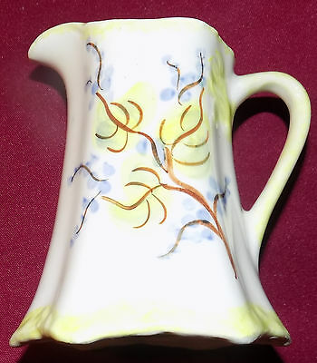 "CASH FAMILY Vintage 4"" Tall CREAMER Hand Painted Erwin TN Green & Blue Design"