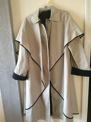 Vintage 60's Voyager West Youthcraft Coat Beige Black Piping Detail Large Women