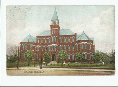 Old Red Brick Wellsville Ohio High School Building Vintage Postcard