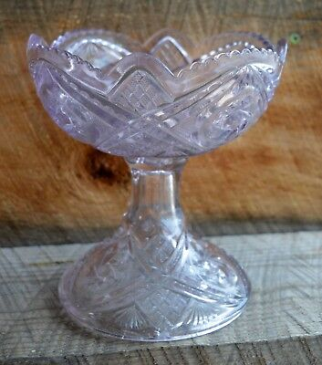 Antique Vintage Sun Kissed Purple Glass Footed Compote Fruit Bowl 6 3/4""