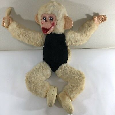 "Vintage Stuffed Monkey Chimp Doll Rubber Face Banana in Hand 23"" Long 50s-60s"