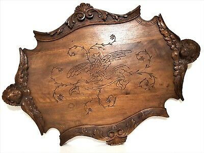 Carved Wood Decoratve Cabaret Tray Antique French Angel Figure Griffin Sculpture