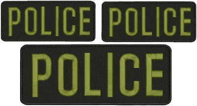 Police embroidery patches 3x8 and 2X 2x5 hook on back letters od green