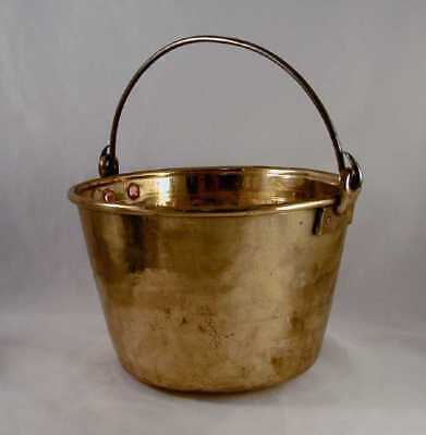 Vintage Hand-hammered Brass Bucket Iron Handle Copper Rivets Incised Decoration