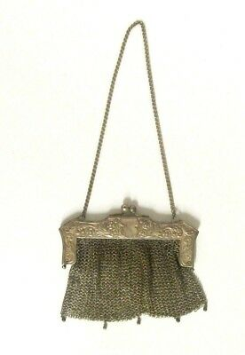 Antique German Silver Mesh Purse Stamped Chain Ornate Frame Uncleaned