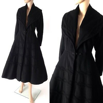 VTG 40s 50s Black Wool Shawl Collar Soutache Princess Fit & Flare Wasp Coat S