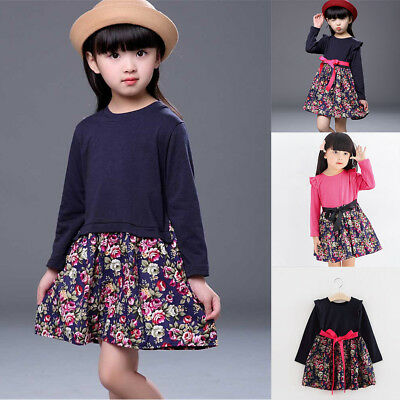 Toddler Kids Baby Girls Floral Print Long Sleeve Party Princess Dresses Clothes