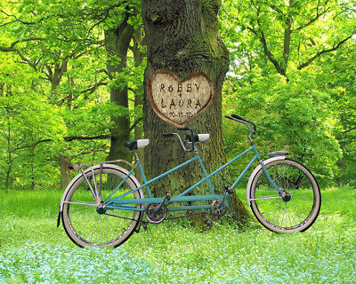 PERSONALIZED Tree Carving -Bicycle UN-FRAMED Print–Wed/Anniv GIFT–Add Names+Date
