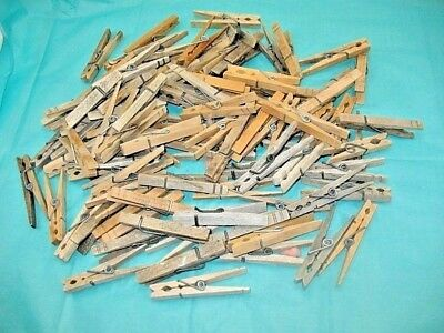 Vintage Wood Clothes Pins Weathered Wooden SPRING LOADED Clothespins Lot of 80