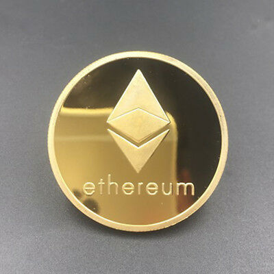 Gold Plated Commemorative Collectible Golden Iron ETH Ethereum Miner Coin