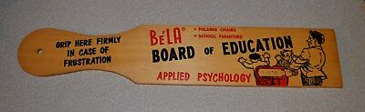 Old Wood Advertising Paddle Bela Chicago Illinois School Furniture Sign Vintage