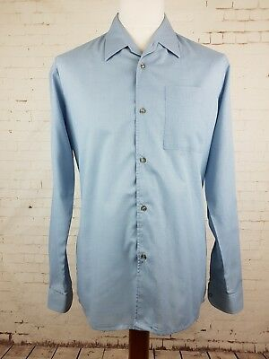 "Vtg Blue Long Sleeve 1960s Sports Collar ""Noveltex"" Shirt Mod Rockabilly -M ER35"
