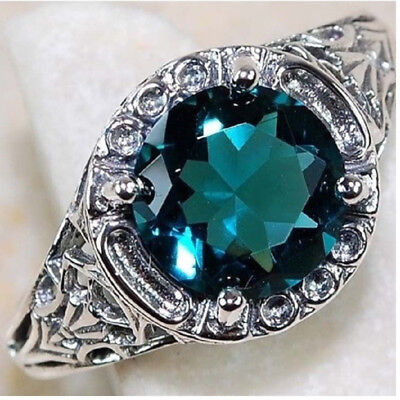 Women Ladies Ancient Silver Green Oval Gem Wedding Party Jewelry Rings Size 6-10