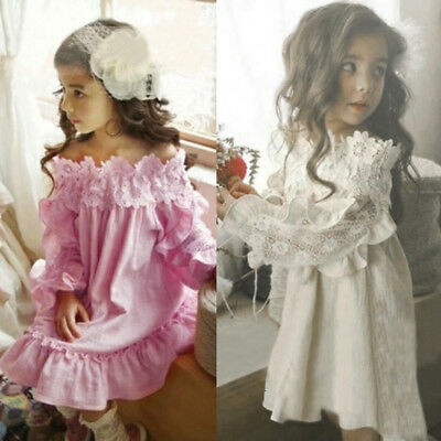 Kids Infant Baby Girl Long Sleeve Off Shoulder Lace Wedding Party Princess Dress