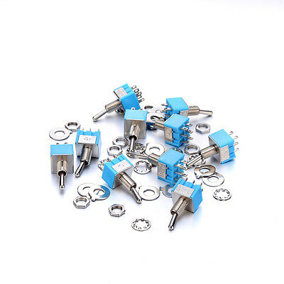 10Pcs Miniature MTS-202 6-Pin DPDT ON-ON 2 Position 6A 125V Toggle Switches