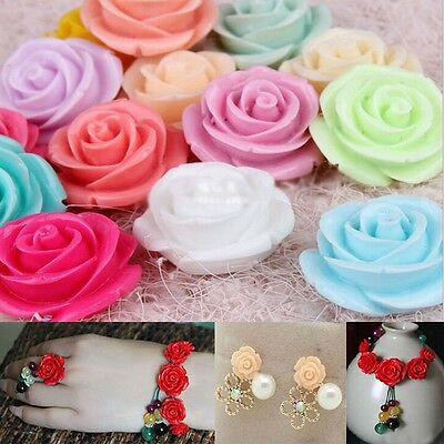 11Colors Lot 10/12/15mm Resin Flower Shape Charms Loose Spacer Beads