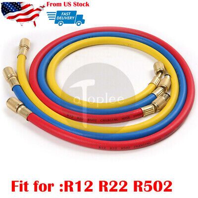 "3pc 35"" 3FT Manifold Gauge Set HVAC AC Refrigeration Charging Hoses R12 R22 R502"