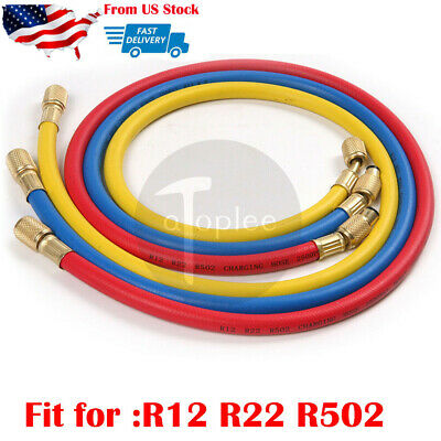 "3pcs 35"" Manifold Gauge Set HVAC AC Refrigeration Charging Hoses R12 R22 R502"
