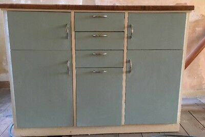 Vintage Retro 1960's Kitchen Cupboard / Pantry, Formica top, blue & white paint