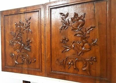 Hand Carved Wood Panel Pair Antique French Bow Fruit Carving Salvaged Panelling