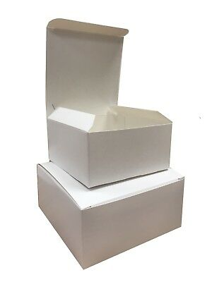 White Square Boxes - Cardboard Takeaway Tray Box Case Pie / Cake Shop Packaging