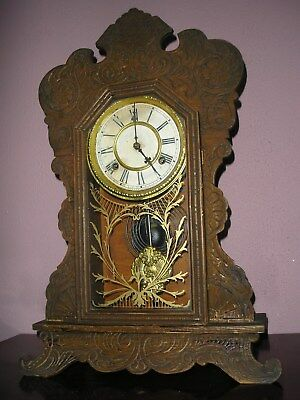 Antique Waterbury Gingerbread Bracket/ Mantle Clock