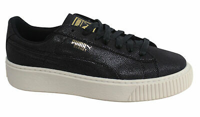 Puma Basket Platform CV Lace Up Black Womens Textile Lo Trainers 365623 01 D110