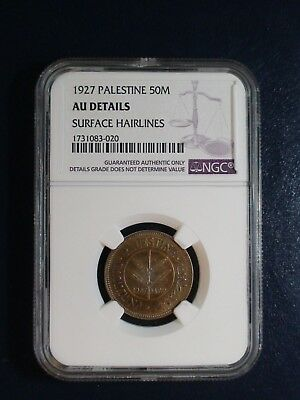 1927 PALESTINE FIFTY MILS NGC AU Details 50M Coin PRICED TO SELL NOW!