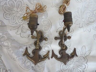 Pair Vintage Maritime Nautical Sconce Light Fixture Anchor Rope Brass Plated