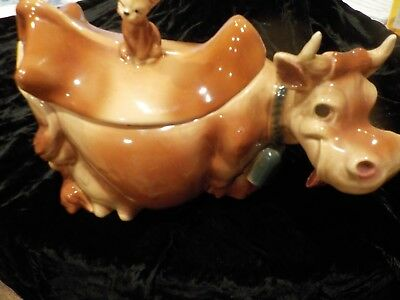 1940's Brush McCoy W-10 Brown Cow with Winking Cat Finial Cookie Jar-Intact!!!