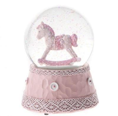 Rocking Horse Musical Waterball Snowglobe (Pink) Christening Birth Glitter Baby