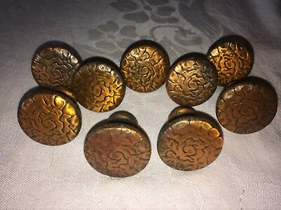 "9 Vintage Antique Hammered Copper Round Drawer Pulls-1.25""-gr8 Cond"