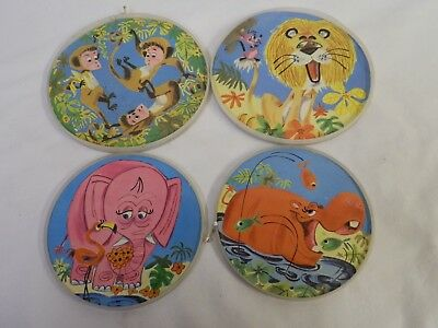 Set 4 Vintage Folgers Coffee Can Jungle Animals Paper Picture Lids Inserts