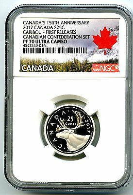 2017 Canada 150Th Anniv 25 Cent Ngc Pf70 Fr .9999 Silver Proof Caribou Quarter